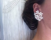 Large Vintage White Enamel Rhinestone Clip On Earrings, Estate Costume Jewelry, Sparkle Statement