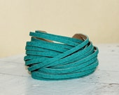 SALE Sliced Teal Suede Leather  Double Wrap Cuff Bracelet