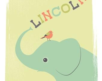 Personalized children's illustration, elephant and bird