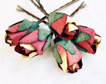 Cactus Rose, Burnt Orange Hair Flower, Bridal Hair Accessories, Bohemian Wedding Hair Flower, Burnt Orange Flower Bobby Pins - Set of 5