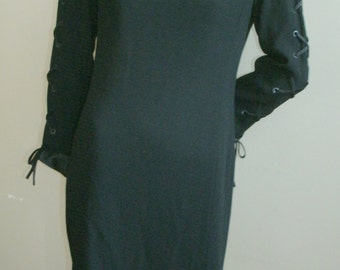 80s vintage black wool Louis Feraud corset sleeve satin lace up tunic style shift dress 10