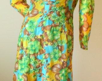 60s Vintage aqua brown green floral maxi long tunic deep V neck festival coachella crepe HIPPIE long sleeve dress M