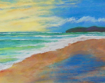 SALE, acapulco beach painting, painting of acapulco, beach art, framed beach painting, free SHIPPING