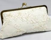 Lace Bridal Clutch, Ivory Wedding Purse, Alencon Lace Purse, Lace Wedding Bag, Formal Clutch {Lotus Pearl Kisslock}