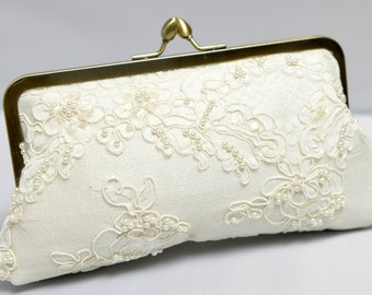 Lace Bridal Clutch, Ivory Wedding Purse, Alencon Lace Purse, Lace Wedding Bag, Formal Clutch {Lotus Pearl Kisslock}