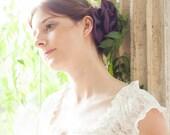 Purple flower head piece or brooch, big head comb - bride hairpiece