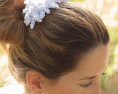 Wedding comb with freeform flowers, bridal headpiece, handmade crochet unique piece