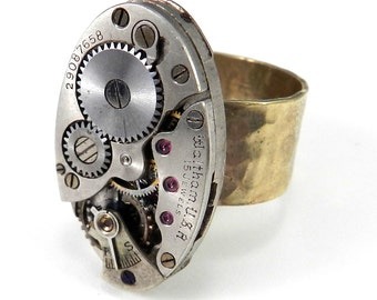 STEAMPUNK Jewelry Vintage Mechanical Watch Industrial Ring on Hammered 24kt Gold plated Band, Steampunk Jewelry by compassrosedesign