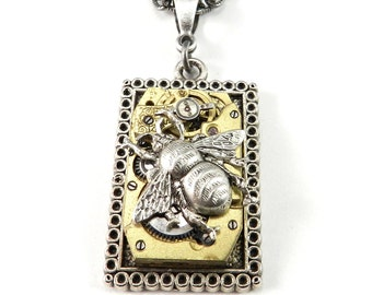 STEAMPUNK Necklace Clockwork Honey Bee Necklace Gold Silver Square Upcycled Pocket Watch Necklace