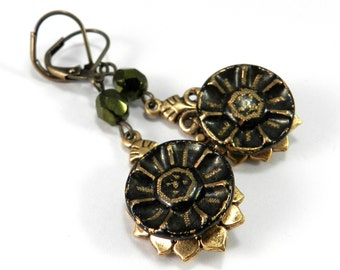 Victorian Earrings, Antique Button Earrings, Forest Green Blossom Gold Teardrop, Victorian Steampunk Jewelry by Compass Rose Design