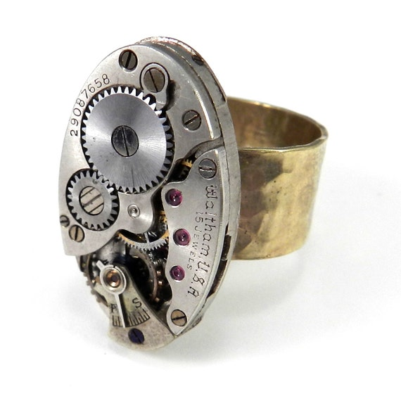 steunk jewelry vintage mechanical industrial ring on