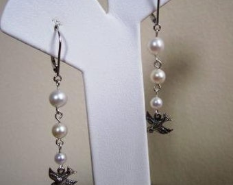 Victorian Earrings Sterling Silver Bridal Wedding Cultured Pearls Bird - 2.5 inches