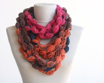Pom pom scarf necklace fall autumn scarf womens scarves crochet infinity scarf bubble scarf multicolor scarf fall fashion accessories