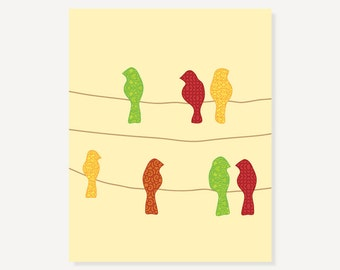 Decorative Art Bird Print - Birds on a Wire - Red Green Yellow Pretty Patterns