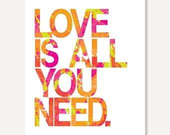 Beatles Love Is All You Need - Lyrics Art Typographic Print (Pink Green Orange)