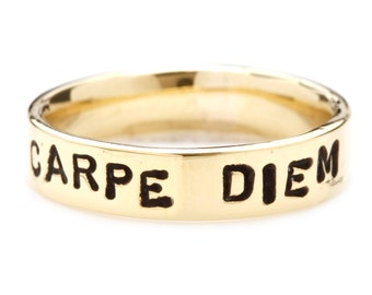 Personalize Man Ring Gold Wedding Band Hand Stamped Jewelry