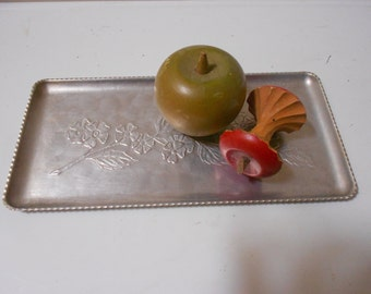 Apple Or Dogwood Aluminum Tray Vintage Mid Century Chic Hammered & Embossed Repousse Beauty