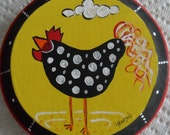 Hand Painted (Acrylic) Funky Pok-A-Dot Chicken Signed Original