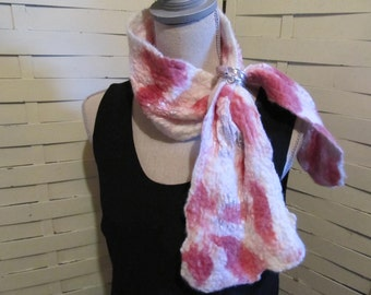 Nuno Felted Silk Scarf Neckwarmer with Matching Scarf Holder...Shades of Pink and White