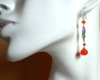 Carnelian and Sterling Silver Linear Earrings