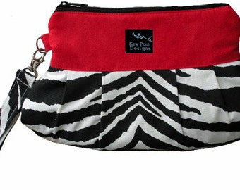 Zebra Red White Black Faux Suede Fabric Pleated Wristlet Clutch Iphone Phone Case Pouch Small Purse Phone Zipper Pouch Cosmetic Bag Key Fob
