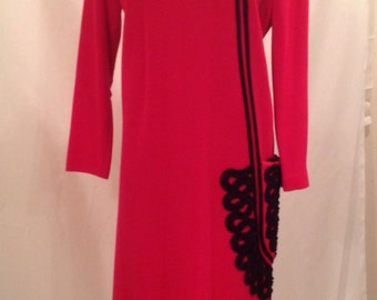 Vintage Red Knit Black Dress Detailed Trim With Big Side Pocket By Ricky Ann New York