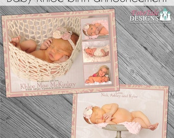 INSTANT DOWNLOAD - Baby Khloe Birth Announcement - custom 5x7 photo template for photographers on WHCC and Pro Digital Photos Specs