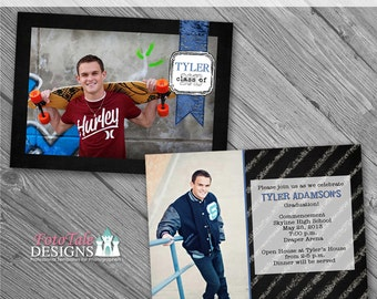 INSTANT Download Chalk It Up Graduation Announcement No. 4- custom 5x7 photo templates for photographers on WHCC, Miller's and PDP Specs