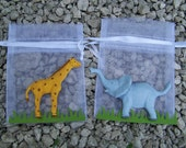 Jungle theme Elephant and Giraffe baby shower and Party Favor bags 10 pieces