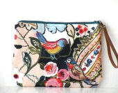 Vintage flowers and lovely colorful bird fabric zippered wristlet,pouch,clutch