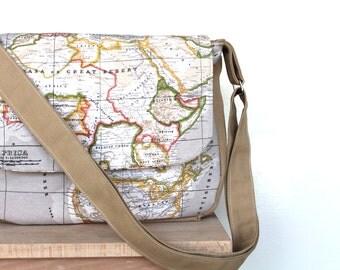 World map print,travel,traveller, back to school  Messenger bag,shoulder bag,cross body bag