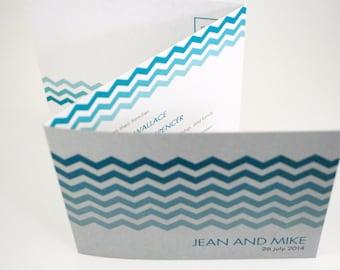 Beach Wedding Invitation in Chevron Blue and Silver