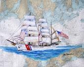 USCGC  Eagle  Nautical Chart Art Print ( US Coast Guard Academy Training Sailing Ship Perfect Coast Guard Veteran or Active Military Gift )