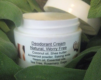 Natural Deodorant, Deodorizing Armpit Cream, Aromatherapy, Shea Butter or Coconut Oil & Shea Butter