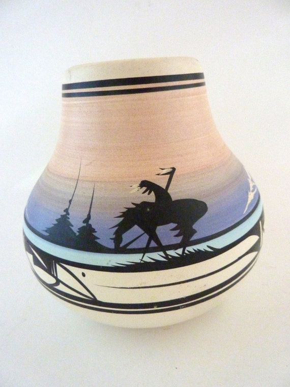navajo native american pottery signed hathhie bulbous pottery