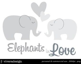 Elephants in Love Digital Clip Art - in Grey