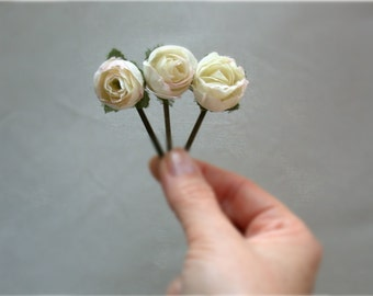 A Touch of Vintage Rose Flower Hair Pins White Cream Pink  Vintage Flower Hair Pins, Bridal Hair Accessories,  Bridesmaid Flower Girls
