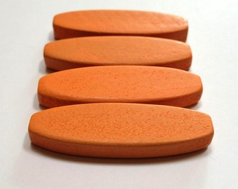 Pumpkin Slices - Wood Beads - Tapered Flat - 4 beads