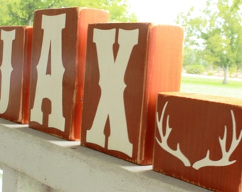 PERSONALIZED LETTER BLOCKS - Deer Antlers Sign - Rustic Lodge Nursery - Baby Rack Decor Country Hunting Horns - Cabin Name
