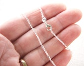 18 inch Fine 925 Sterling Silver Chain Necklace. Thin Link Chain Tiny Cable Oval. Finished Necklace for Pendant. Ready to Wear