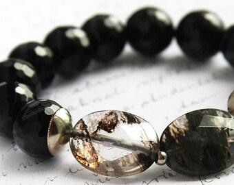 Exquisite Rutilated Quartz Bracelet Black Onyx Bracelet Sterling Silver Bracelet Bohemian Jewelry Faceted Gemstone Bracelet Large stones