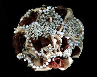 Champagne brooch bridal bouquetnwiith b=deep brown tuffs, custom made,many designs, all at reasonable prices