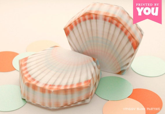SHELL Favor Box : DIY Printable Sea Shell PDF - Instant Download // Clam Shell