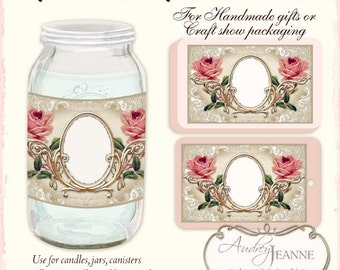 Kitchen Labels, Digital Collage Sheet AJR-363C printable product tags tattered vintage English Roses Lace Gold Swirl Scroll Frame