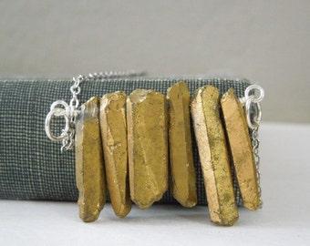 Gold Titanium Quartz Crystal Necklace - Natural Quartz Titanium Points Pendant Necklace Silver Chain
