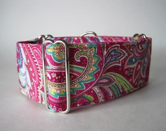 Pink Martingale Collar, 2 Inch Martingale Collar, Paisley Martingale Collar, Paisley Dog Collar, Sighthound Collar