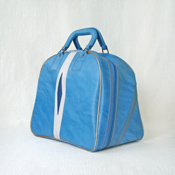Vintage Bowling Bag Blue and White