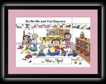 Personalized Cartoon - Daycare - Male OR Female - 8 x 10 Matted Print   w customer choice of mat color