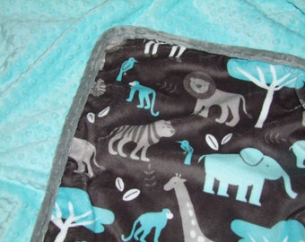 Baby Boy Blanket in Zoology Minky- Jungle Tales Minky Blanket - Boy Jungle Blanket - Baby Boy Nursery - Baby Bedding - Ships in 1-3 Days