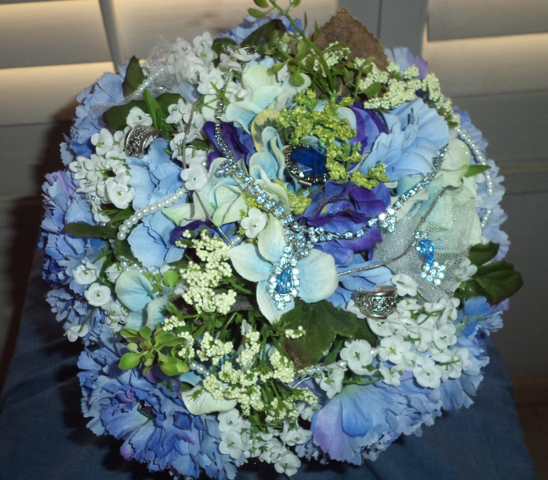 Vintage Jewellery Wedding Bouquets : Sale lovely blue carnation bridal bouquet vintage jewelry